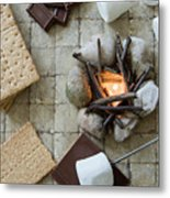 Flat Lay Camp Fire S'mores Deconstructed Metal Print