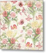Fleurs De Pivoine - Watercolor In A French Vintage Wallpaper Style Metal Print