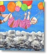 Floating Above Storm Clouds Metal Print