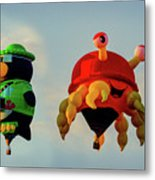 Floating Aerial Photographer And The Smiling Crab Metal Print