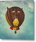 Floating Cat - Hot Air Balloon Metal Print