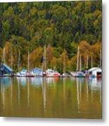 Floating Homes Along Multnomah Channel In Portland Oregon Metal Print