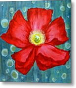 Floating Poppy Metal Print