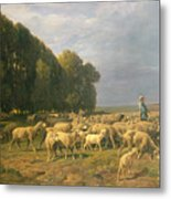 Flock Of Sheep In A Landscape Metal Print by Charles Emile Jacque