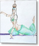 Floor Work -- Belly Dancer Portrait Metal Print