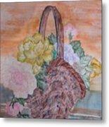 Floral Basket Metal Print
