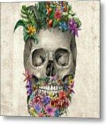 Floral Beard Skull Metal Print