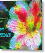 Floral Birthday Card Metal Print