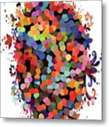 Floral Bouquet Abstract With Dots Metal Print