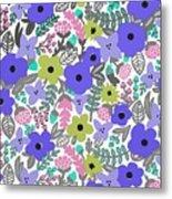 Floral Burst Of Blue Metal Print
