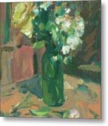Floral Green Vase Metal Print