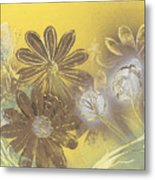 Floral In Gold And Yellow Metal Print