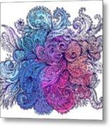 Blue Floral Indian Pattern Metal Print