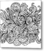 Black And White Floral Indian Pattern Metal Print