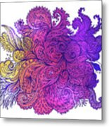 Purple Floral Indian Pattern Metal Print