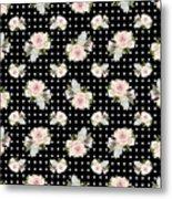 Floral Rose Cluster W Dot Bedding Home Decor Art Metal Print