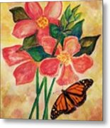 Floral With Butterfly Metal Print