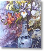 Floral With Delft Ware Metal Print