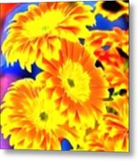 Floral Yellow Painting Lit Metal Print