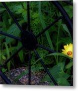 Floral Yellow Peek A Boo Metal Print
