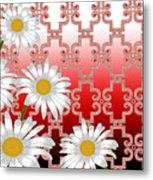 Floral Zellige Design 4 Metal Print