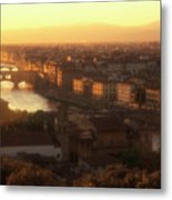 Florence And The Ponte Vecchio Dusk, Tuscany, Italy Metal Print