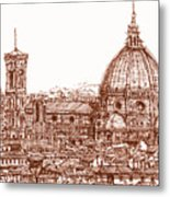 Florence Duomo In Red Metal Print