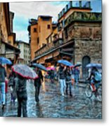 Florence In The Rain Metal Print
