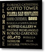 Florence Italy Famous Landmarks Metal Print