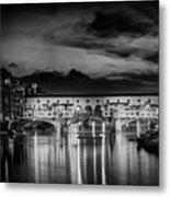 Florence Ponte Vecchio At Sunset Monochrome Metal Print