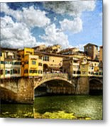 Florence -  Ponte Vecchio From The Northwestern Bank - Vintage Metal Print