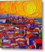Florence Sunset 10 Modern Impressionist Abstract City Knife Oil Painting Ana Maria Edulescu Metal Print