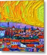 Florence Sunset 5 Modern Impressionist Abstract City Impasto Knife Oil Painting Ana Maria Edulescu Metal Print
