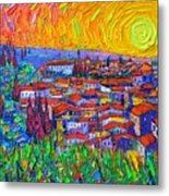 Florence Sunset 7 Modern Impressionist Abstract City Impasto Knife Oil Painting Ana Maria Edulescu Metal Print