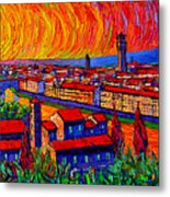 Florence Sunset 9 Modern Impressionist Abstract City Impasto Knife Oil Painting Ana Maria Edulescu Metal Print