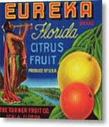 Florida Eureka Citrus Fruit Crate Label Metal Print