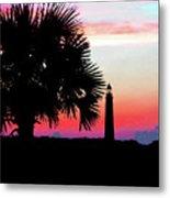 Florida Lighthouse Sunset Silhouette Metal Print