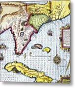 Florida: Map, 1591 Metal Print