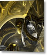 Flow Of Silver And Gold Metal Print