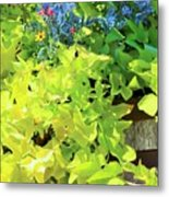 Flower Among Leaves Metal Print