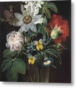 Flower And A Delphinium In A Glass Vase Metal Print
