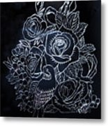 Flower And Bird Scratch Board Metal Print