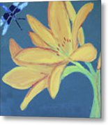 Flower And Insect Metal Print