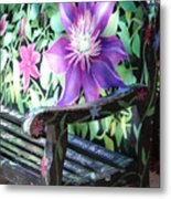 Flower Bench Metal Print