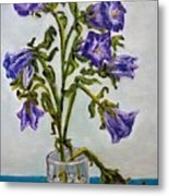 Flower  Bluebells Original Oil Painting Metal Print