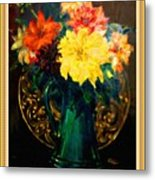 Bouquet For Mrs De Waldt H B With Decorative Ornate Printed Frame. Metal Print