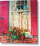Flower Box  And Pink Shutters Metal Print
