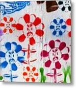 Flower Face Murial Metal Print