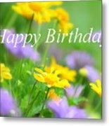 Flower Garden Birthday Card Metal Print