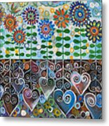 Flower Garden Blues Metal Print